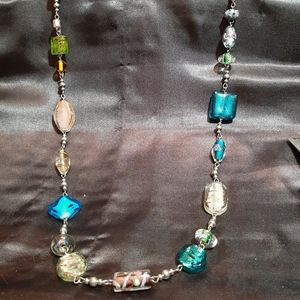 Silver and italian glass bead necklace.